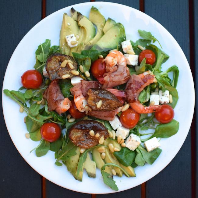 La salade de gambas figues et avocat | Salade des Opposés | LovaLinda | Blog Cuisine Recettes Entrée Plat Salade | Photographie