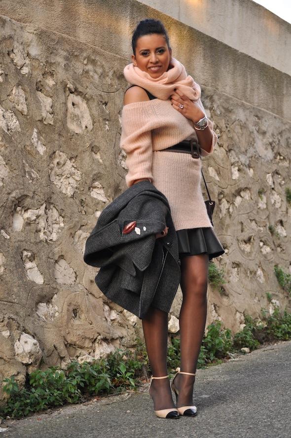 Lovalinda-LookBook-PinkLady Knit-TaraJarmon x Skirt-Zara x Blazer-Monoprix x Belt-TaraJarmon x Pumps-Maje x Clutch-COS 10