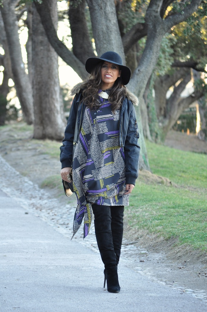 Lovalinda x Thakoon Addition Purple Asymmetric Shirt Dress x Alexander Wang Black Suede Sofia Knee Boots x Kookai Bomber