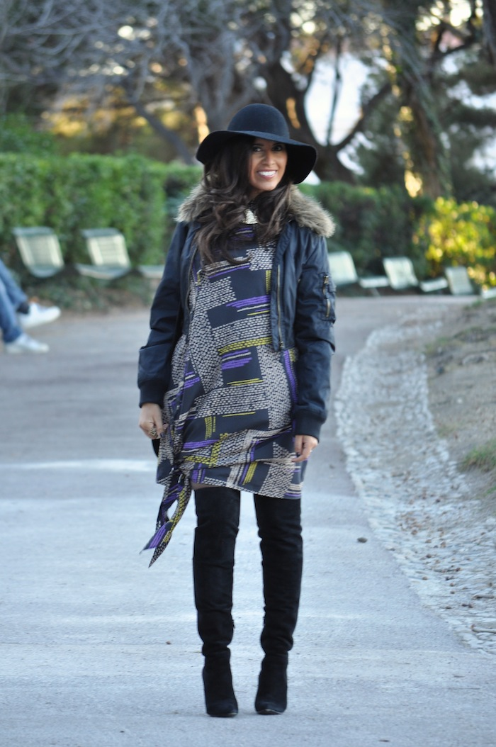 Lovalinda x Thakoon Addition Purple Asymmetric Shirt Dress x Alexander Wang Black Suede Sofia Knee Boots