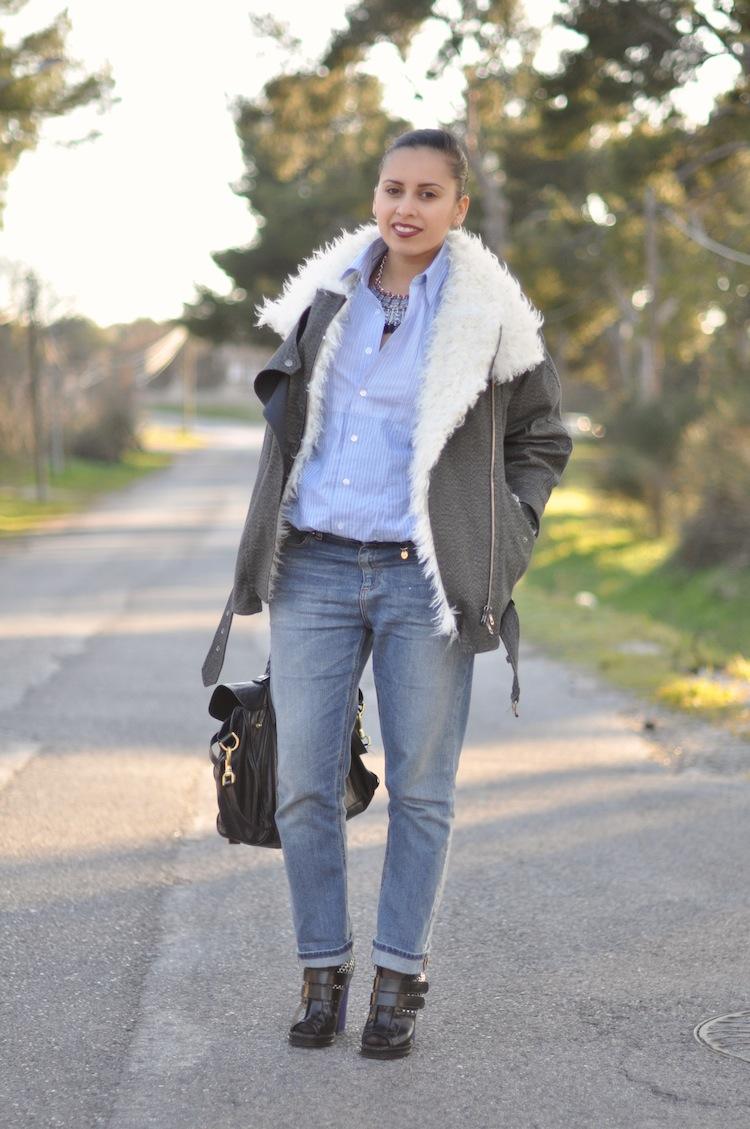 LovaLinda ⎪ Le Perfecto Moutonné⎪Isabel Marant Rejane Biker Coat x Asos Shirt x Gucci Boyfriend x Zara Necklace x Mulberry Alexa Bag x Burgundy Lips YSL x Proenza Schouler Boots