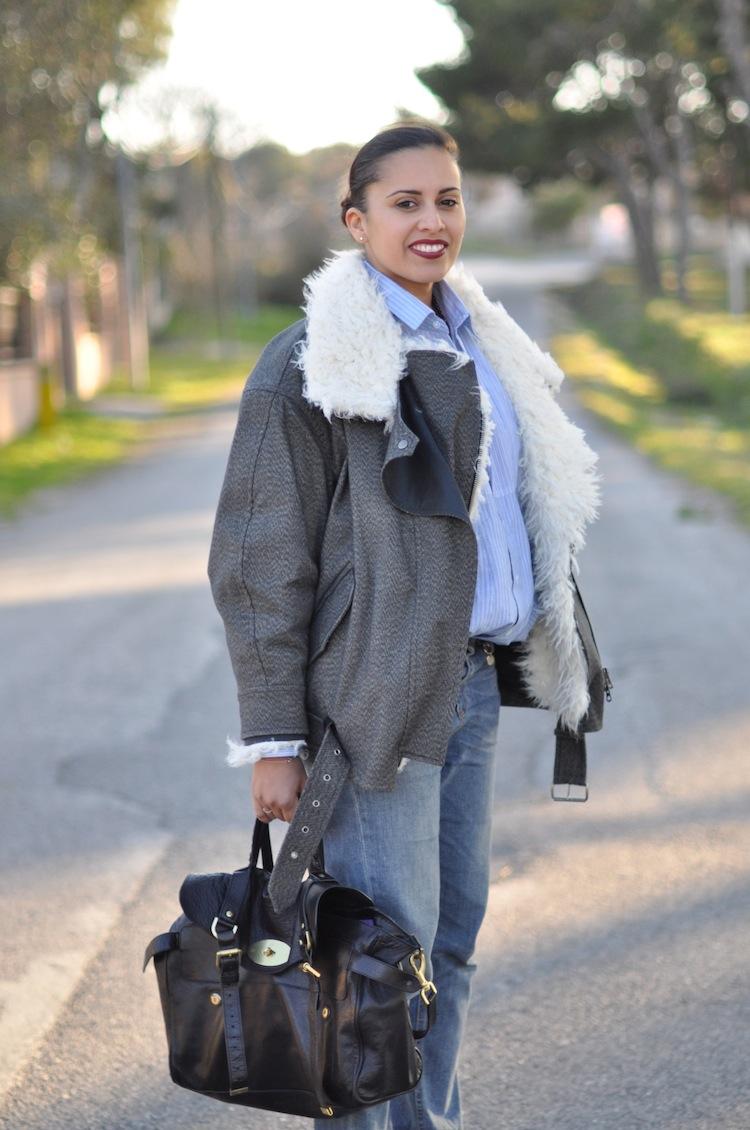 LovaLinda ⎪ Le Perfecto Moutonné⎪Isabel Marant Rejane Biker Coat x Asos Shirt x Gucci Boyfriend x Zara Necklace x Mulberry Alexa Bag x Burgundy Lips YSL