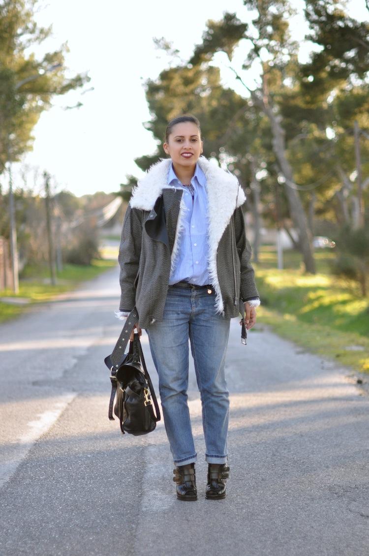 LovaLinda ⎪ Le Perfecto Moutonné⎪Isabel Marant Rejane Biker Coat x Asos Shirt x Gucci Boyfriend x Zara Necklace x Mulberry Alexa Bag x Proenza Schouler Boots