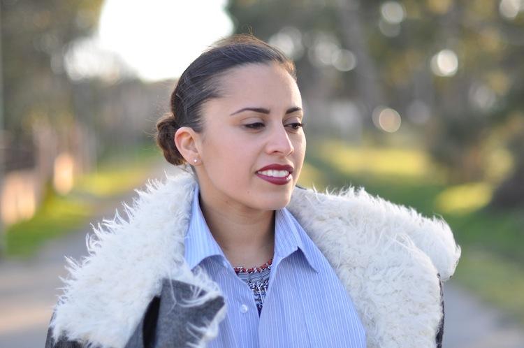 LovaLinda ⎪ Le Perfecto Moutonné⎪Isabel Marant Rejane Biker Coat x Asos Shirt x Zara Necklace x Burgundy Lips YSL