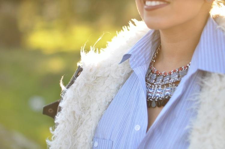 LovaLinda ⎪ Le Perfecto Moutonné⎪Isabel Marant Rejane Biker Coat x Asos Shirt x Zara Necklace