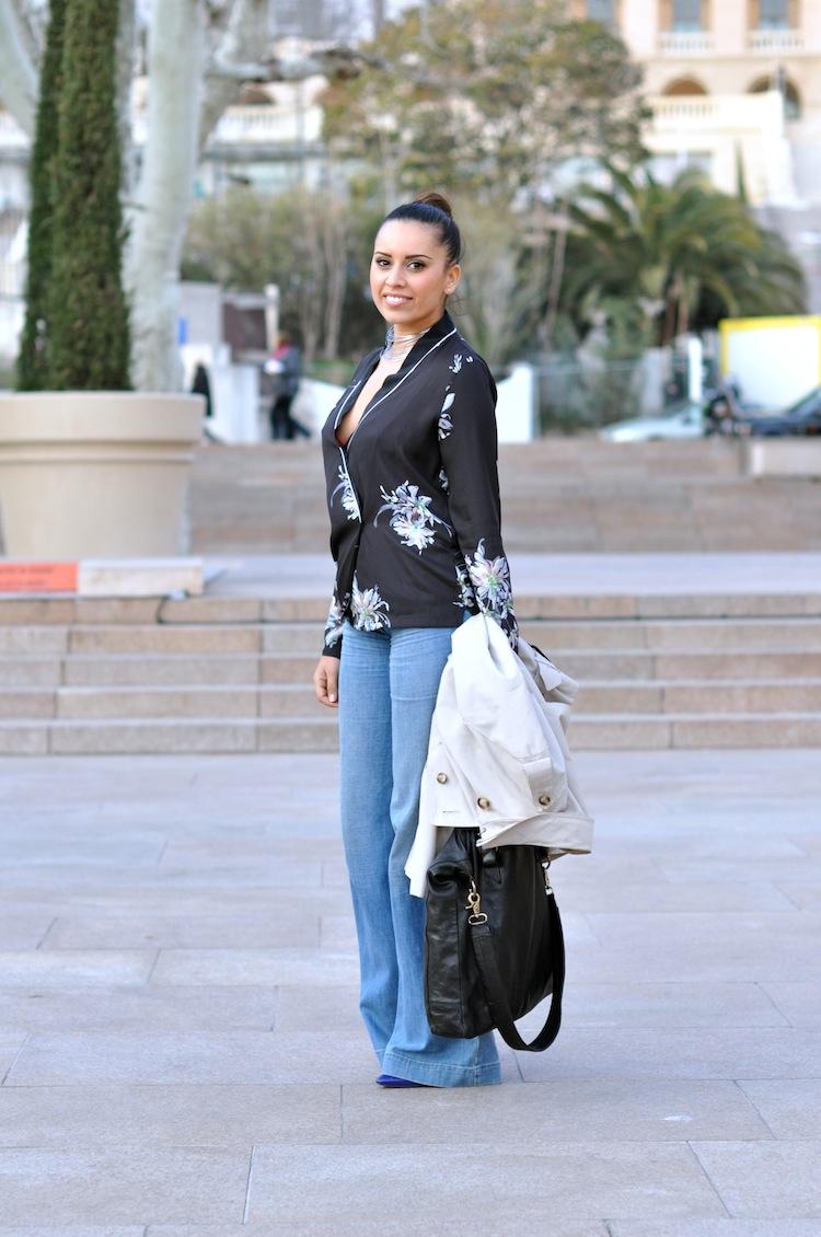 Néo Kimono ⎪Lovalinda ⎪Sandro Bag - Zara kimono - Sandro Flare - Agatha Necklace - Les Petites Shoes