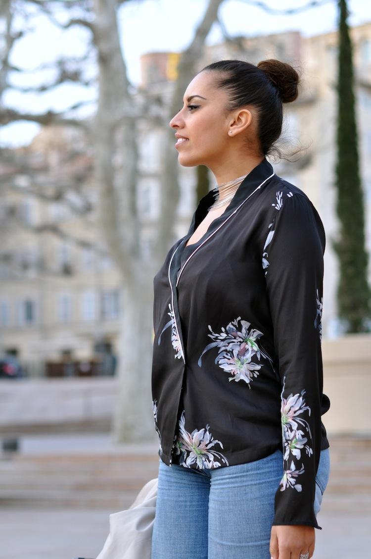Néo Kimono ⎪Lovalinda ⎪Sandro Bag - Zara kimono - Sandro Flare - Agatha Necklace
