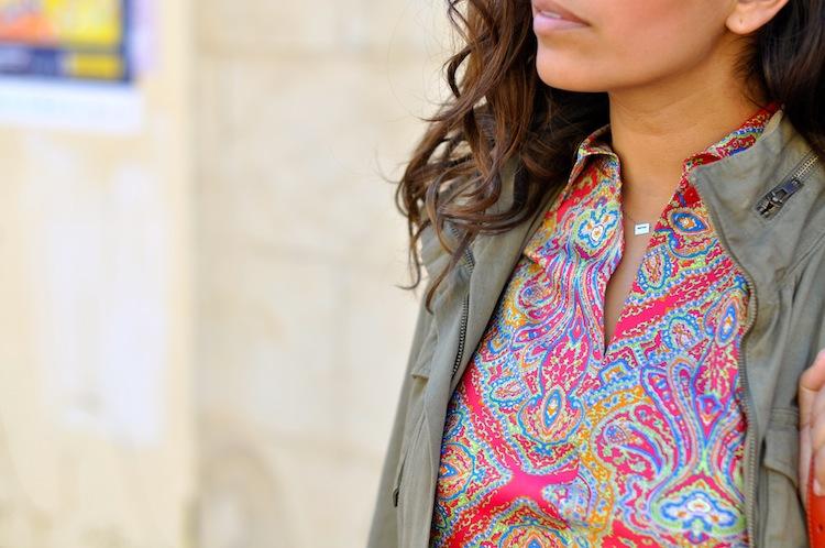 Le paisley sous parka - LovaLinda - H&M Parka x Carven Paisley Silk Top