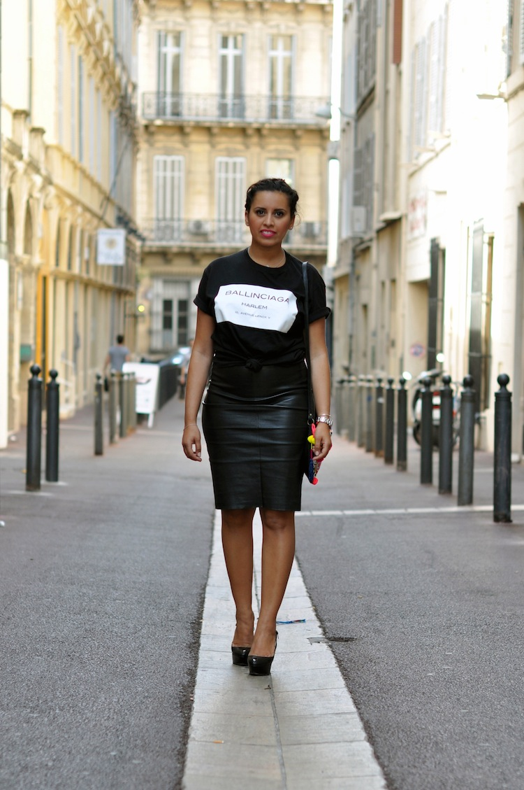 Conflit d'interet - Lovalinda x COI_NYC Tee x Stouls Skirt x Sergio Rossi Pumps x Asos Bag