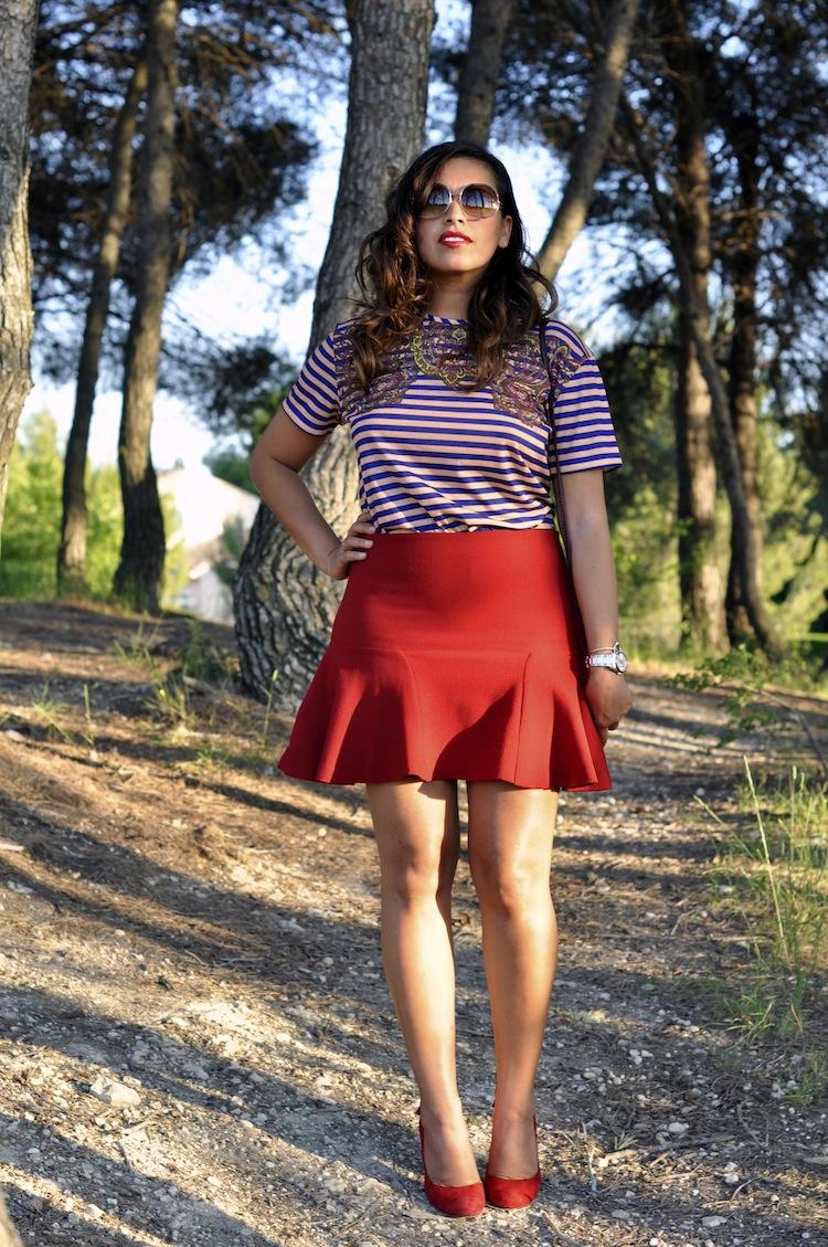 LovaLinda - Les rayures tango - Carven Paisley Print Top x Zara Skirt x Tom Ford Sunglasses x Tara Jarmon Pumps x Cos Clutch