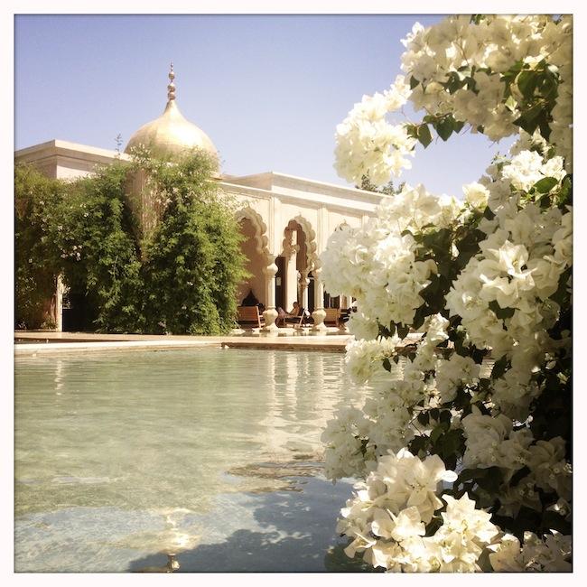 Les milles et une nuits à Marrakech | LovaLinda x Palais Namaskar x Legs x Bassin x Fleurs x Accueil