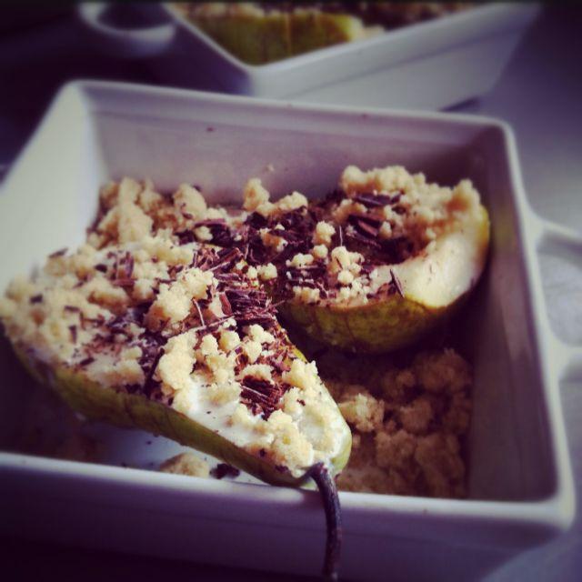 Le crumble poire-chocolat-piment d'Espelette | Julia pour LovaLinda