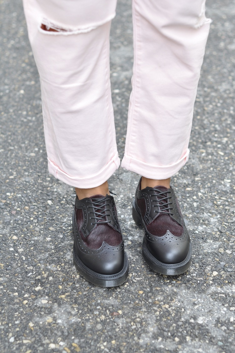 Le grunge boyish | LovaLinda x Dr Martens Nash leather and calf hair brogues x Paige Jeans