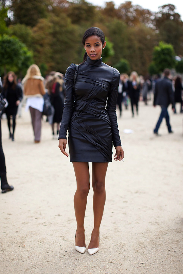 La petite robe noire | LovaLinda Stockholm Street-style-leather-dress