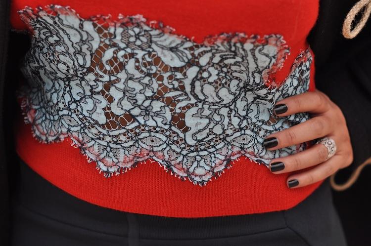 Lace insert   LovaLinda x Carven Lace Insert Sweater