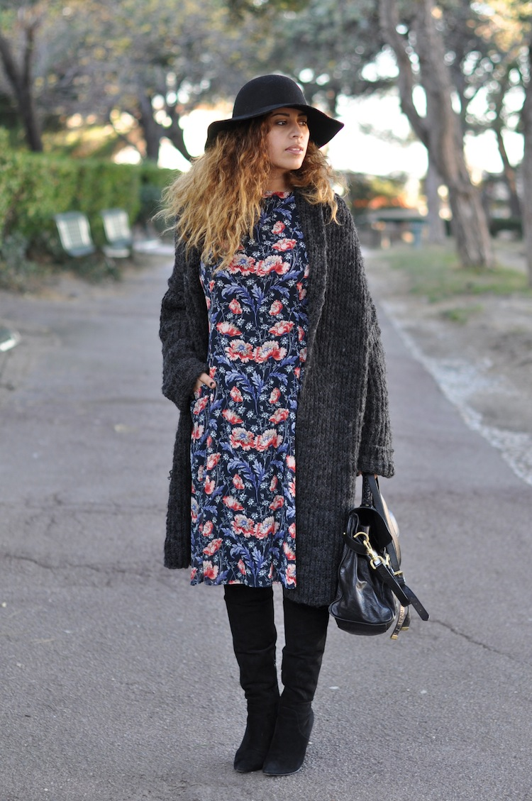 L'hiver en fleur | LovaLinda x H&M Hat x Zara Cardigan x Zara Dress x Alexander Wang Over The Knee Boots x Mulberry Alexa Bag
