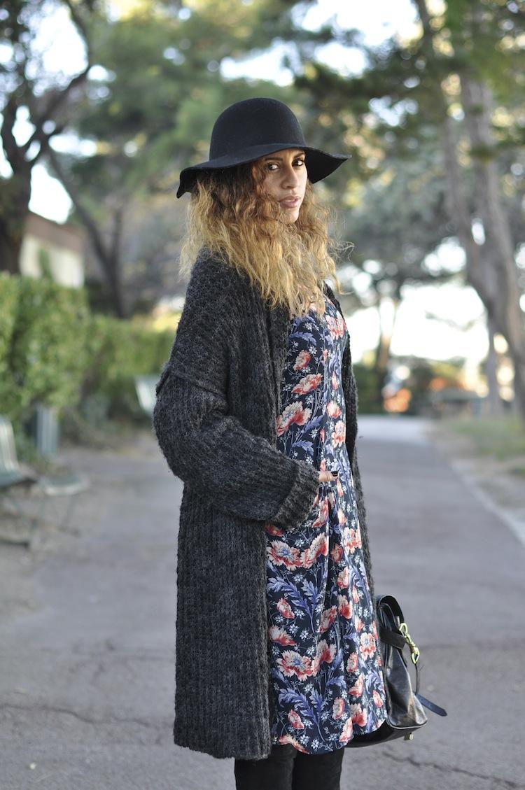 L'hiver en fleur | LovaLinda x H&M Hat x Zara Cardigan x Zara Dress