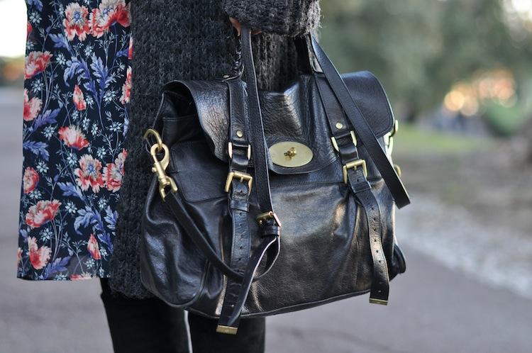 L'hiver en fleur | LovaLinda x Zara Cardigan x Zara Dress x Mulberry Alexa Bag