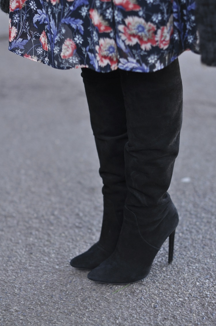 L'hiver en fleur | LovaLinda x Zara Dress x Alexander Wang Over The Knee Boots