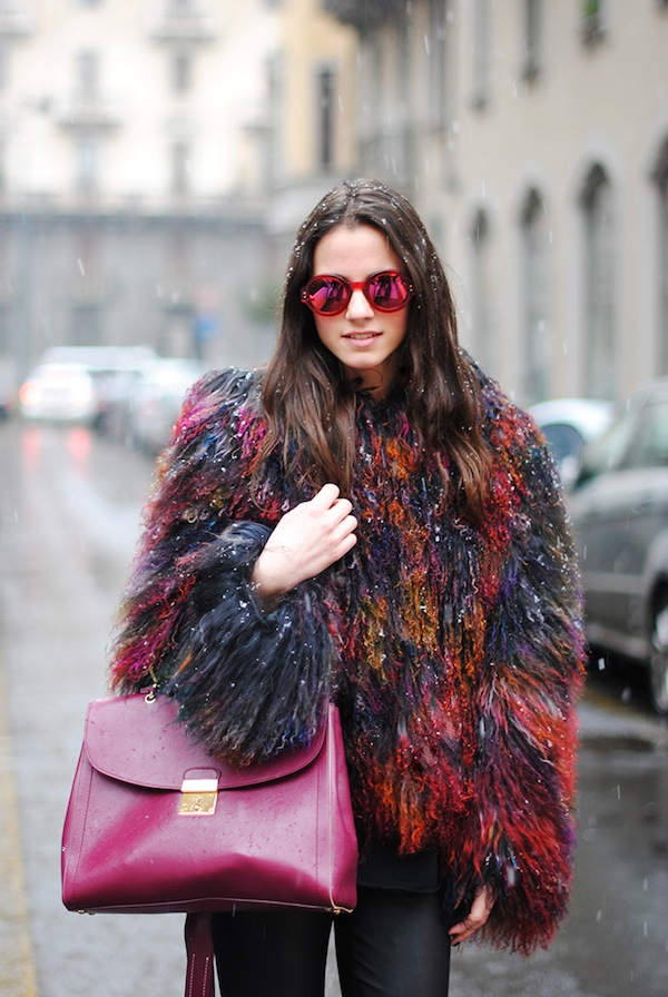 milan fashion week, emporio armani jacket, mongolian fur, colors, marc jacobs sunglasses