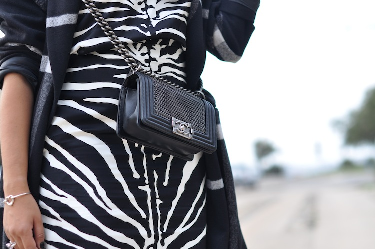 Le zébré zélé | LovaLinda x Carven black and white zebra-print organza-silk skirt x Carven black and white zebra-print organza-silk top x Chanel Boy Bag