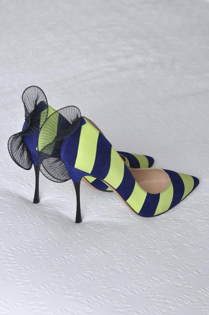 Les ruffle-back stripe pumps | LovaLinda x Nicholas Kirkwood