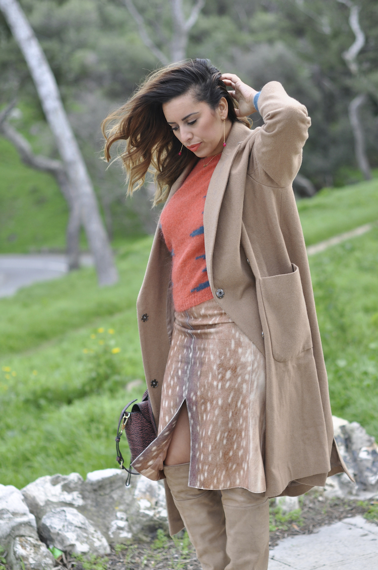 Le New Neutral | LovaLinda x Asos Camel Coat x Carven Sweater x Carven Skirt