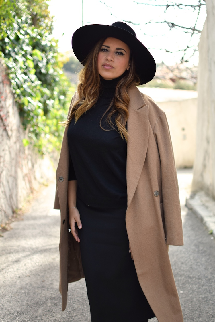 L'uniforme d'hiver | LovaLinda x Manteau Camel Asos x Zara Jupe x Pull Stella McCartney x Maison Michel Fedora