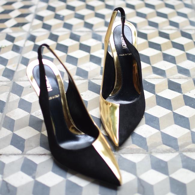 La bipolaire de Fendi   LovaLinda x Fendi x Blog Mode Chaussures de Luxe x Bi-colour leather and suede slingbacks