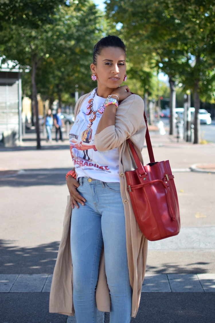 La touche bijou | LovaLinda | Blog Mode Photo Lookbook Marseille | Stella Jean T-shirt x Asos Jacket x RiverIsland Necklace Earring x Frame Jeans Slim x Christian Louboutin So Kate Pumps x Pourchet Bag x Marc By Marc Jacobs Bracelet