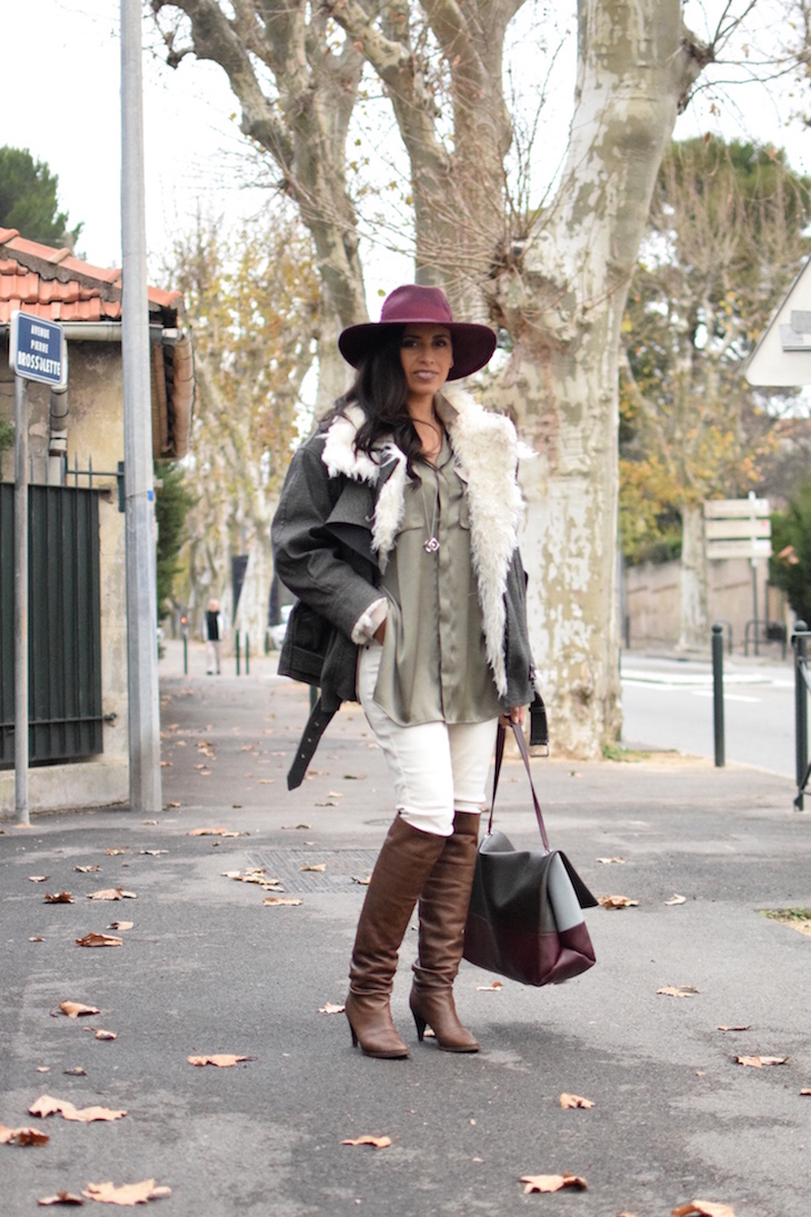La soie cool | LovaLinda | Blog Mode Lookbook Photo Marseille | Isabel Marant Rejane Faux-Fur Jacket x Catarzi Fedora x Silk Shirt BLK DNM x Sandro Jeans x L'otre chose Over The Knee Boots x Celine Bag