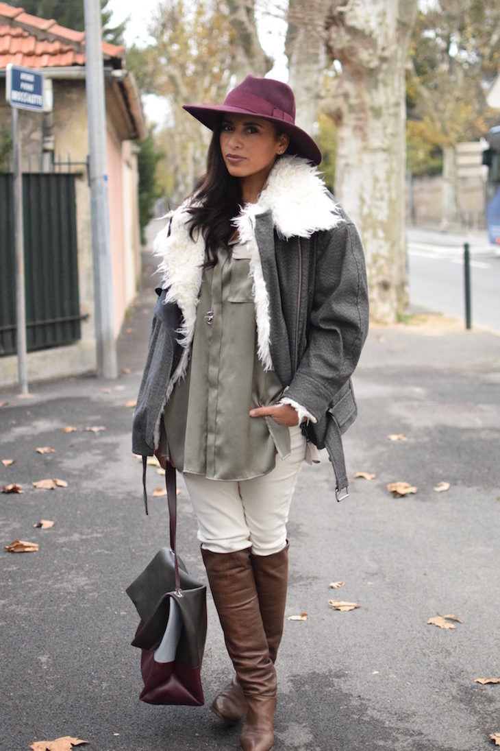 La soie cool | LovaLinda | Blog Mode Lookbook Photo Marseille | Isabel Marant Rejane Jacket x Catarzi Fedora Hat x Silk Shirt BLK DNM x Sandro Jeans x L'otre chose Over The Knee Boots x Celine Bag