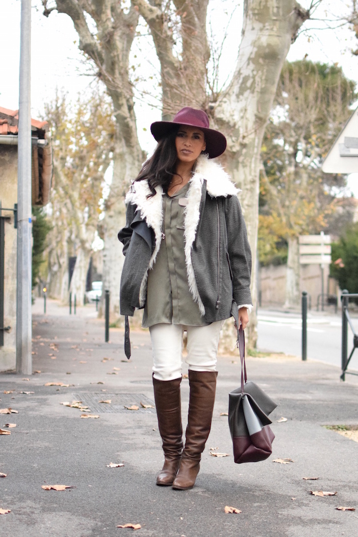 La soie cool | LovaLinda | Blog Mode Lookbook Photo Marseille | Isabel Marant Rejane Jacket x Catarzi Fedora x Silk Shirt BLK DNM x Sandro Jeans x L'otre chose Over The Knee Boots x Celine Bag