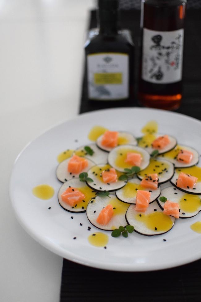 Le carpaccio radis noir et dos de saumon | LovaLinda | Blog Cuisine Photo